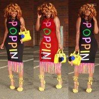 رسائل مصمم فستان المرأة الصيف تانك فساتين الهيئة غير الرسمية قوس قزح مطبوعة بوبين