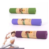 TPE YOGA MAT 6mm de espesor 183 * 61cm para ejercicio de entrenamiento Pilates Color escogido al azar
