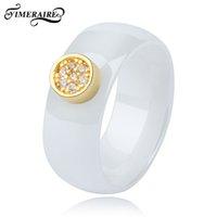 Klassische Keramik-Finger-Ring 8 mm Breite mit Gold schimmernde Kristalle Strass für Frauen Schmuck Mode-Accessoires Glatte