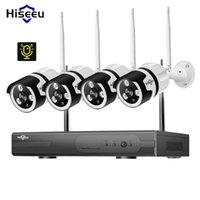 Hiseeu 1080P 4CH sem fio NVR CCTV sistema de áudio WiFi 2.0MP IP ao ar livre câmera À Prova D 'Água Security Videovillance Kit