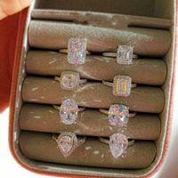 INS Top Vendre Simple Mode Bijoux Real 925 Sterling Sterling 7 Style Poire Coupée Blanc Topaz CZ Diamond Eternity Party Femmes Bague de mariage