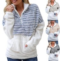 Womens Sherpa lã com capuz Quente Plush Furry pulôver Big bolso Listrado Moda Camisolas Meio Zipper Blusas Outwear Plus Size Tops D91711