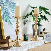 Candelieri metallo fiori Vaso Candeliere Centrotavola Strada Piombo Candelabri centrotavola matrimonio porps decorazioni di Natale
