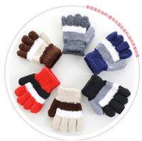 Hiver nouveau 5-10years vieux enfants de Gant tricoté en laine polaire corail stripe magique pleine de gants du bout des doigts gants du bout des doigts des élèves des gants de doigts chauds