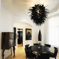 kristal avize aydınlatma el üfleme cam avize Led ışıklar siyah İskandinav bar restoran lamba kişilik Salon Mobilya-L