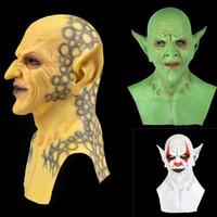 Белый Зеленый Желтый Быстрая доставка Хэллоуин новый желтый маленький призрак маска головной убор Demon клоун вампир орк маски Хэллоуин день рождения смешно