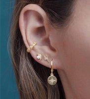 Saplama 2021 Moda 925 Ayar Gümüş Altın Renk Güzel Kızlar Kadınlar Takı Ay Yıldız Tasarım Opal CZ Elegance Sevimli Küpe
