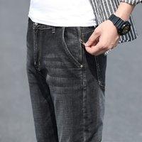 남자 청바지 2021 가을 고전적인 스타일 회색 슬림 안티 도난 지퍼 면화 탄성 정규 맞추기 데님 바지 남성 브랜드 바지