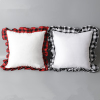 Nouveau Sublimation Blank Pillowcases DIY Sublimation Plaid * 52cm 52cm Pillowcases transfert de chaleur d'impression Blank oreiller Sans PP Coton
