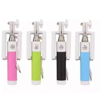 1000set lot* High Quality Wired Selfie Stick Handheld mini Monopod Built-in Shutter Extendable with Fold Holder For Smartphone