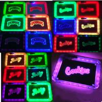 3 stili Glow vassoio per accessori per il fumo di tabacco LED quadrato rolling vassoi con pacchetto di sigarette borsa 28 centimetri DHL regalo portatile
