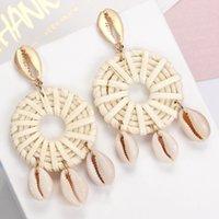 ZOSHI handgemachte Ohrringe für Frauen aus Holz Straw Weave Rattan Hochzeit baumeln Schmuck Großhandel Shell Ohrringe Schmuck