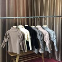 Girls Stripe T-shirt Kids Cotton Puff Sleeve Princess Tops Children High Collar Bottoming Shirt A4282