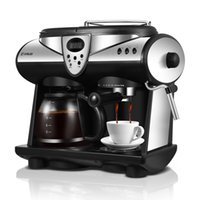 Americano / Italiano 2 Flavores Cafeteira Espresso Bombas Duplas e Caldeiras Cappuccino Latte Macchiato Mocha Leite Espuma Maker