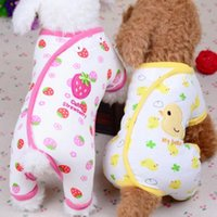 귀여운 작은 강아지 잠옷 동반 개 고양이 옷 강아지 jumpsuit 치와와 코트 Pomeranian 인쇄 티셔츠