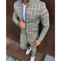 새로운 패션 자 켓 남자 tracksuit 세트 망 세트 다채로운 격자 무늬 남성 캐주얼 지퍼 세트 가을 tracksuit 남성 스웨터 포켓