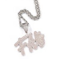 UWIN Hiphop Jewelry Cursive Writing Name Necklace Initial Letters Pendant Full Iced Words Necklace Cubic Zirconia Jewelry Chain MX200810