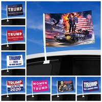 Moda Trump Car Bandiera 45 * 30cm 2020 US Presidential Election Finestra Trump Flag Car Bandiera compreso il trasporto marittimo a Flagpole DDA475