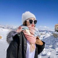 Шарфы шарф шерсть женщины зимние густые теплые плед осень мужчины и кашемировые шали двойное использование буфанда обертывания