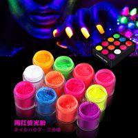 1 Box Neon Phosphor-Puder-Nagel-Funkeln-Puder 12 Farben Staub Luminous Pigment Fluorescent Nail Glitters Floureszierende