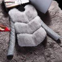 Faroonee mujeres chaquetas de moda otoño invierno Capa Caliente Mujer de imitación de piel de zorro chaleco de alto grado chaqueta delgada de vestir exteriores Negro Gris Y200926