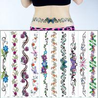 10pcs / lot nouveau autocollant de tatouage waistbandLbelt 42cm * 6cm sous le sein grande peinture du corps papillon jambe fleur tatouages sexy filles T200908 Sternum