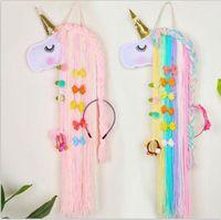 Einhorn-Haar-Bögen Lagerung Gurt für Mädchen Geschenk Clips Barrette Hair Hanging Organizer-Streifen-Halter für Haarspangen 1pcs