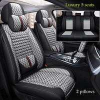 Luxus-PU-Leder 1 satz Autositzbezüge für Toyota Corolla Camry RAV4 Auris Prius Yalis Avensis SUV Auto Interior Accessorie 5Seats (grau)