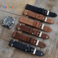 Bandas de relógio de alta qualidade de couro de vaca retro tiras azul vigia pulseira de substituição para acessórios 18mm 20mm 22mm 24mm vaca