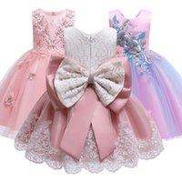 Новые девушки цветка принцесса платье мечты Свадьба День рождения Элегантные цветы платья Детский Bow платье младенца Дети Пачка Одежда