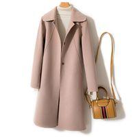 Mezclas de lana para mujer 100% abrigo mujer chaqueta mujer primavera otoño invierno doble lado lana mujeres coreano rosa chaquetas chaquetas mujer