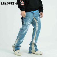 LINDSEY Seader Hip Hop 2020 Denim Calças flare Jeans Patchwork Homens Streetwear Harajuku Baggy Denim Pants Autumn Harem Calças