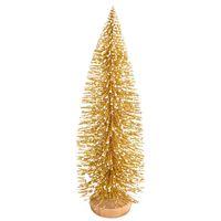 Petit floqués d'arbre de Noël de globe de neige mignon bouteille Mini givré unique brosse arbres Jolie Décorations festives avec la base en bois