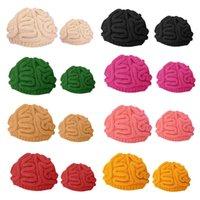 Divertido punto de ganchillo Beanie sombrero Niños cerebrales en adultos horrible cráneo cosplay sólido Cap C90E