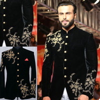 Black Men Suit Luxury Gold Applique Beads Single- breasted Me...