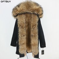 OFTBUY 2020 Long Parka Real Natural Raccoon Fur Coat Winter Jacket Women Streetwear Outerwear Thick Warm Casual Big Fur Collar T200908