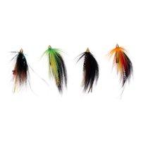 4PC Tube Мухи Cone Heads 4 Цвет лосося и морской форели Fly Рыбалка