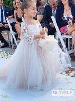 Симпатичные Девушки с длинным рукавом Девушки Платья малыша с большим бантом Пагода Рукава Свадебные вечеринки День рождения Детские платья