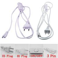T5 T8 커넥터 CABL 3 핀 150cm US EU 플러그 스위치 전원 코드 연장 케이블 통합 LED 튜브 DHL 무료 배송