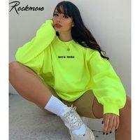 Letra impressa Rockmore Hoodies camisola das mulheres Harajuku Streetwear Oversized Hoodie Plus Size suor encapuçado queda Femme Inverno