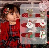 귀여운 크리스마스 헤어핀 반짝이 크리스마스 스타킹 엘크 클립 산타 눈사람 머리 장식 헤어 클립 아기 어린이 헤어핀 여자 헤어 핀 머리핀 NEW의 D9905