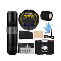 Kit de tatuagem profissional máquina rotativa lcd alimentação pé pedal cartuchos agulhas completos tatuagem conjunto para profissionais