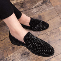 Marke Black Strass Männer Kleid Schuhe Velvet Kristall Luxus Mokassins Männer Loafers Office Business-Party Wohnungen Zapatos Hombre