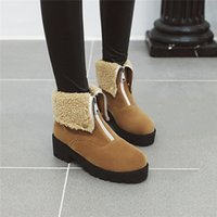 Çizmeler YMEKİK Artı Boyutu Kış Ayak Bileği Kadınlar için Sarı Siyah Nubuk Süet Ön Fermuar Blok Yüksek Topuk Bayanlar Ayakkabı Kar