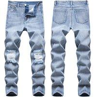 Herren Jeans Retro hellblaue Loch-Design High Street gefaltetes dünnes Stretch Jeans Lange Denim Hip Hop-Hosen-Bleistift-Hosen für Männer