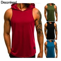 2020 Mens Fitness Hoodies Tank Tops Sleeveless Bodybuilding Shirts Casual Male Workout Hooded Vest Undershirt Sportswear Y
