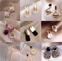 10Pairs / lot Mélanger Style Style Cristal Mode Studing Boucles d'oreilles pour Craft Bijoux Cadeau Boucle d'oreille WA028