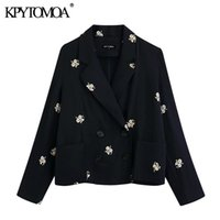 KPYTOMOA Kadınlar 2020 Moda Çift Breasted Çiçek Nakış Blazer Ceket Vintage Uzun Kollu Kadın Dış Giyim Şık Tops Pockets