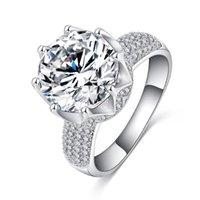 Kadınlar Taşlı Taç Takı Size6-11 için MDEAN Lüks Nişan Düğün Rings