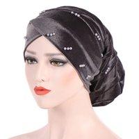 Helisopus Nuovo musulmana perla in rilievo donne della testa del turbante dell'involucro della sciarpa velluto stretch Baggy capelli cappello Cappelli perdita accessori dei capelli